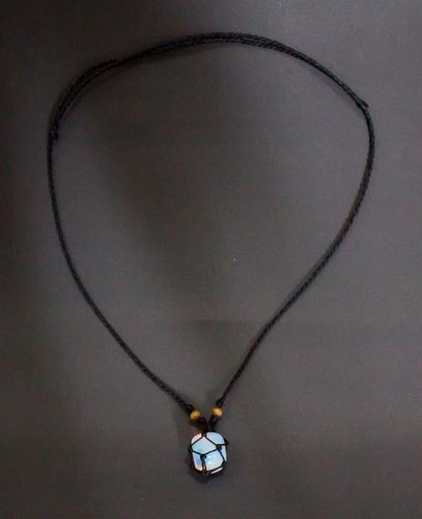 Colar Pedra Lua (opalina) Hippie Castroada C/ Fio Preto