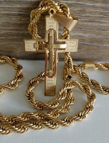 Crucifixo Cruz Pai Nosso + Corrente Aço Banhado A Ouro 18k