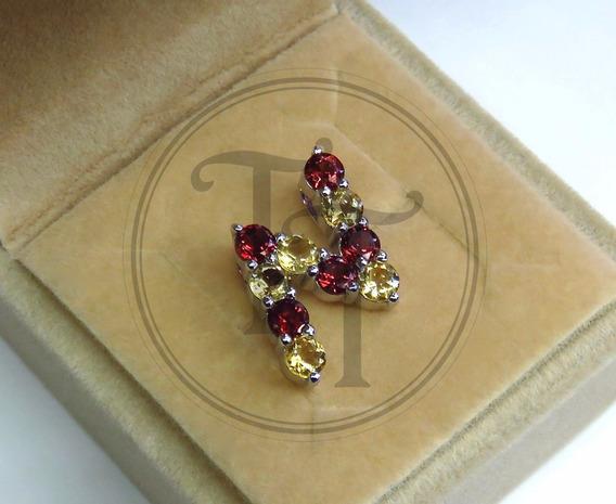 Collar Letra N En Plata Esterlina Con Granates Y Citrinos