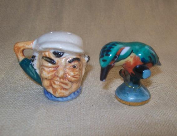 Figuras 2 Porcelanas: Limoges Japón Miniaturas Pájaro Y Chop