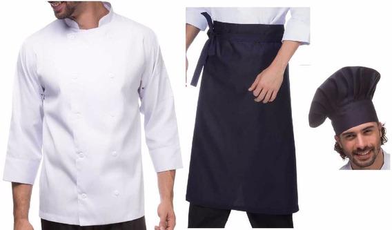 Kit Doma C/nome Bordado + Chapeu + Avental Chef Cozinheiro