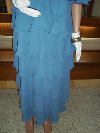 Vestido De Noche Coctel Madrina Color Azul Con Volados