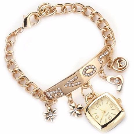 Pulseira Bracelete Relógio Inox + Strass Love Pronta Entrega