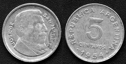 Moneda 5 Centavos 1954 Lomas De Zamora