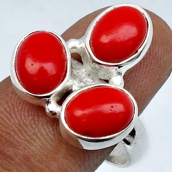 Coral Vermelho No Anel De Prata 925