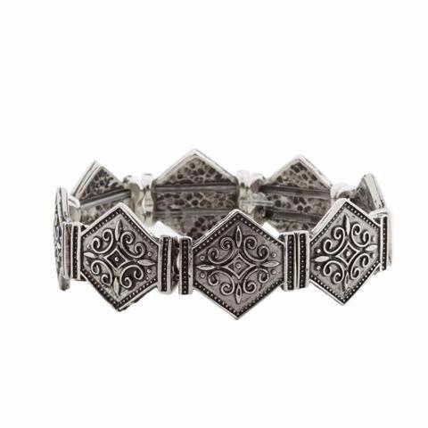 Bracelete Prata Losangos Estilo Boho