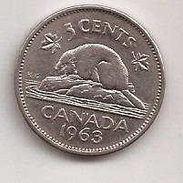 Canada Moneda De 5 Cents Año 1963