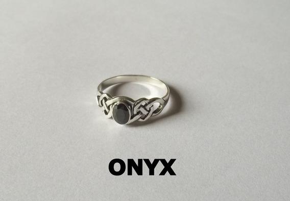 Anel Celta Spiral Onyx Ônix Sintético Prata 2,2 Gr. A R O 20