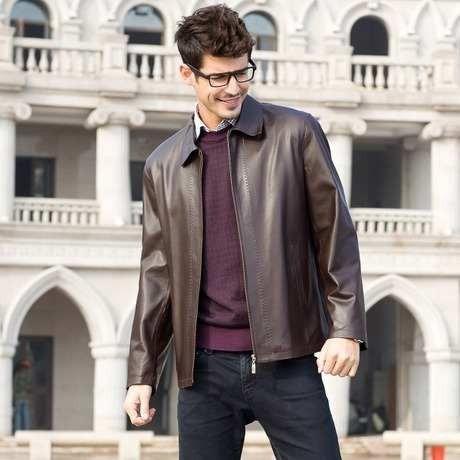 Jaqueta De Couro Importada Masculina Marrom Escuro Elegante