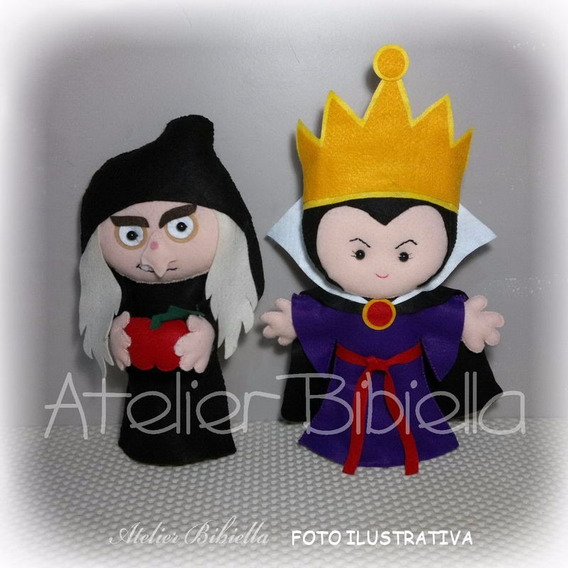 Branca De Neve 25cm- Kit 2 Personagens Feltro Madrasta Bruxa