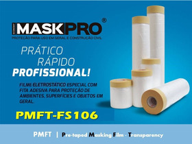 Filme Plástico Branco P/mascaramento Com Fita Crepe- Kit Fs6