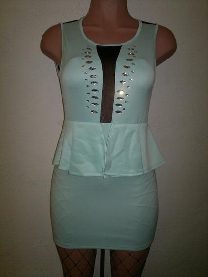 Moda Sexy Mini Vestido Menta Transparencias Frente Y Espalda