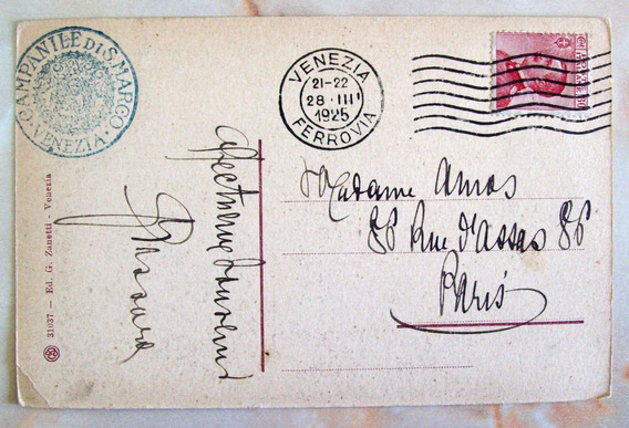 Italia - Postal Antigua B&n 1925 Venezia Paris Yv. 108 L2992