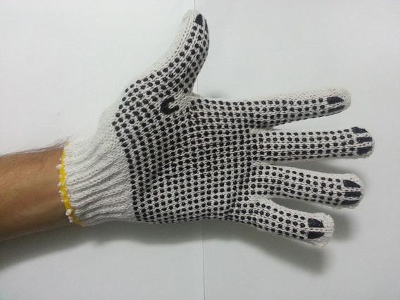 Luva Tricotada Algodão / Palma Pingo Emborrachado 16 Pares