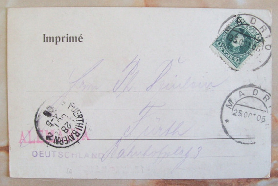 España - Postal Antigua Color 1905 A Alemania Yv. 213 L3002