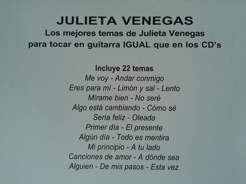 Julieta Venegas Cancionero Guitarra Acordes Ricordi Melos Mercado Libre