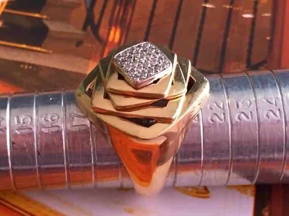Anel Em Ouro 18k Com Diamante, Aro:20, 10.7 Gr.