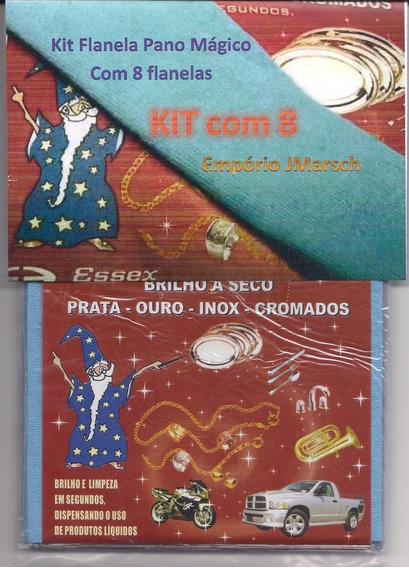 Kit Flanela Pano Magico 8 Flanelas Limpa Ouro Prata Metal Pq