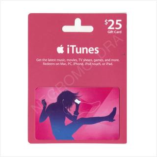 Itunes Gift Card 25 U$ De Recarga Cuentas Usa - Oferta !