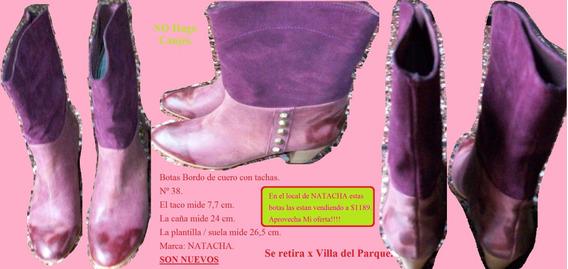 Botas Bordo De Cuero Con Tachas. N 38. (marca Natacha)