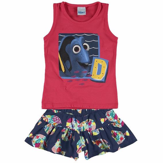 Conjunto Blusa E Short Procurando Dory Malwee Vermelho Azul