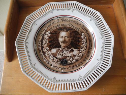 Plato De Porcelana Aleman Del Kaiser Con Propaganda 1914