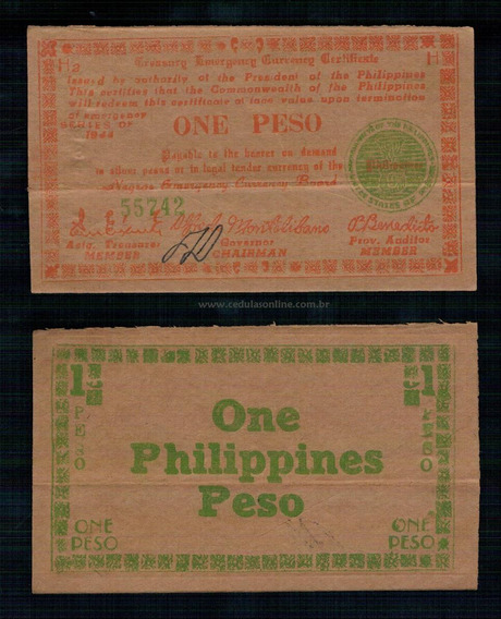 Philippines Filipinas P-s673 Mbc 1 Peso 1944 T Emergency Col