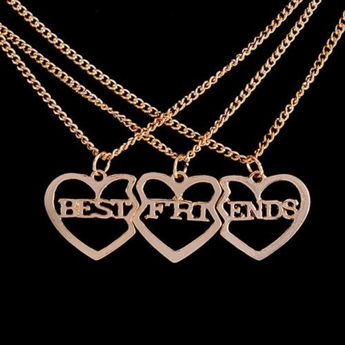 Best Friend Bff Triple Dije Doble Collar Mejores Amigas 3x1