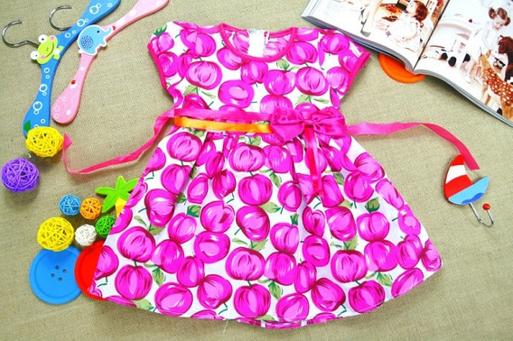 Vestido Infantil Frutas Importado Pronta Entrega No Brasil