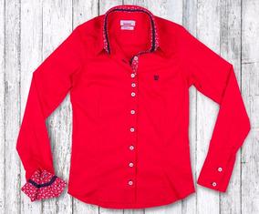 Camisa Social Feminina My Cris Vermelha Floral Slim Fit