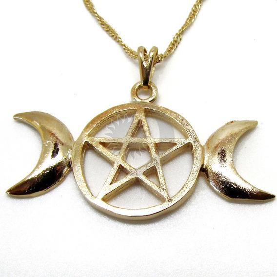 Colar Triluna Pentagrama Banho Ouro Wicca