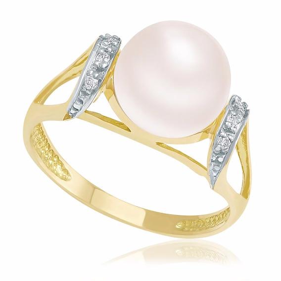 Anel De Pérola 10 Mm E 6 Diamantes,ouro Amarelo 18 Kilates.