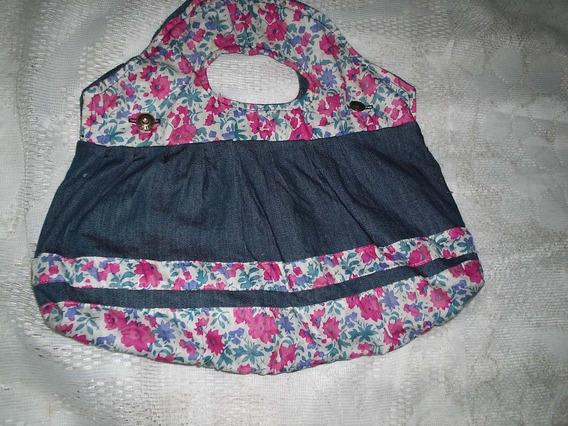 Bolsa Jeans Floral Tamanho M