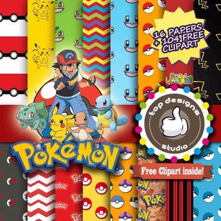 Scrap1real - Kit Scrapbook Digital Pokemon 1