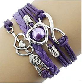 Bracelete Coração Flexado Roxo - Glam0067