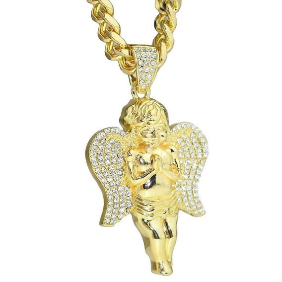 Angel Con Alas Adiamantadas Con Zirconias En Oro Laminado