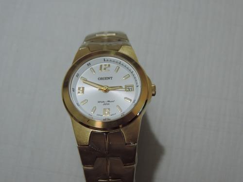 Relógio Orient Feminino Fgss1013 Dourado Visor Prata Social
