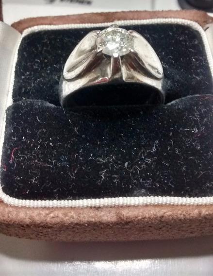 Anillo Solitario Oro Blanco Con Diamante 0.80kt. Caballero