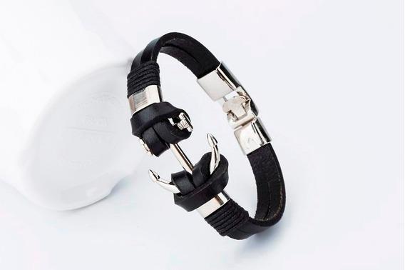 Bracelete Pulseira Masculino Feminino Âncora Em Couro