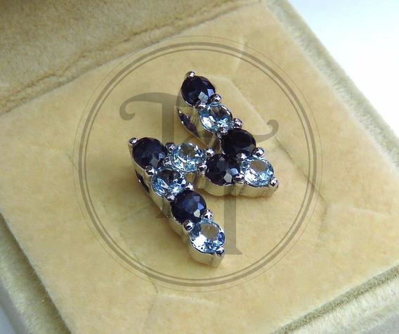 Collar Letra N En Plata Esterlina Con Topacios Y Zafiros