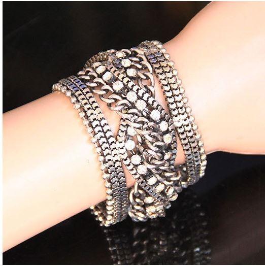 Pulseira Bracelete Cristais Prata Correntes! Luxo!