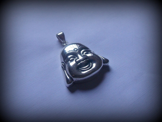 Pingente Buda Feliz Face Happy Buddha K13 - Pura Prata 950
