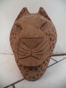Decoração Antiga Tigre/puma Feita Em Fibra Vegetal/usa