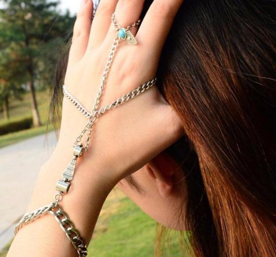 Anel Multi Chain Bracelete Pulseira Vintage Retro