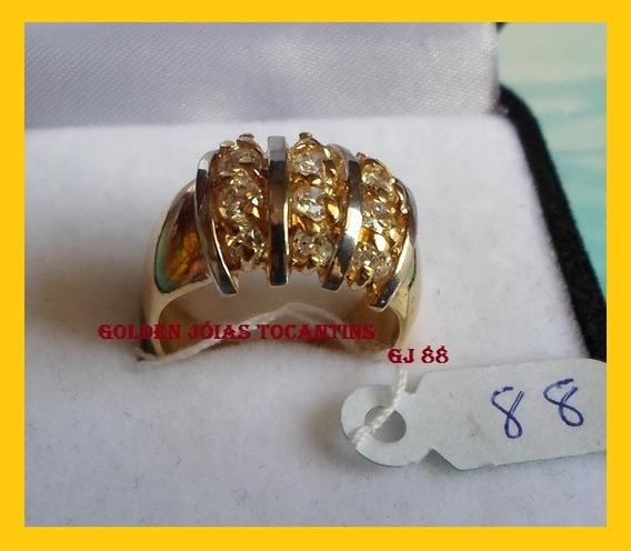 Anel C/ Brilhante Mais Barato Folheado A Ouro Gj 88