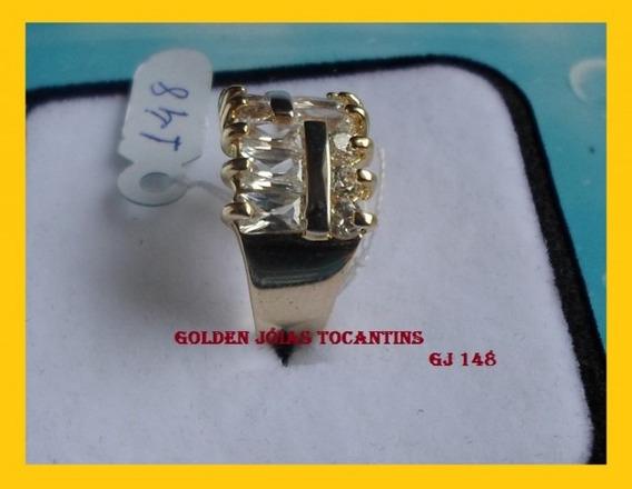 Anel C/ Brilhante Mais Barato Folheado A Ouro Gj 148