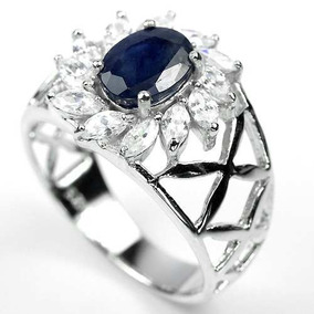 Anel Safira Azul Natural Oval Prata 925 Rodinado