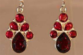 Rsp J714 Brinco De Prata 925 Obsidianas Vermelhas Naturais