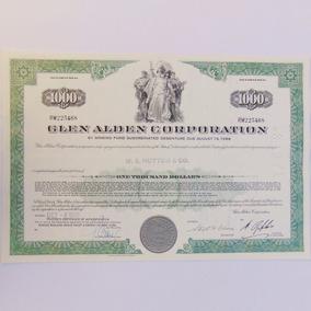 Apólice Letra Ação Glen Alden Corporation Documento 1988