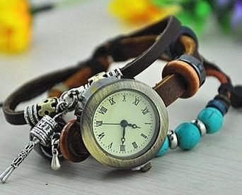 Relógio Pulso Feminino Genuíno Couro Legítimo Azul